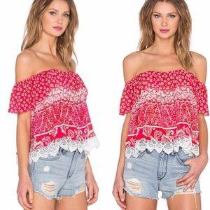 EUC Revolve Lovers & Friends Red Crochet Top